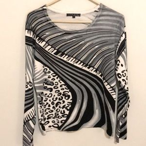 Animal print and silver bling!  Sweater top, Sz S